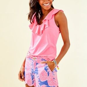 Lilly Pullitzer Pink Ruffle Tee